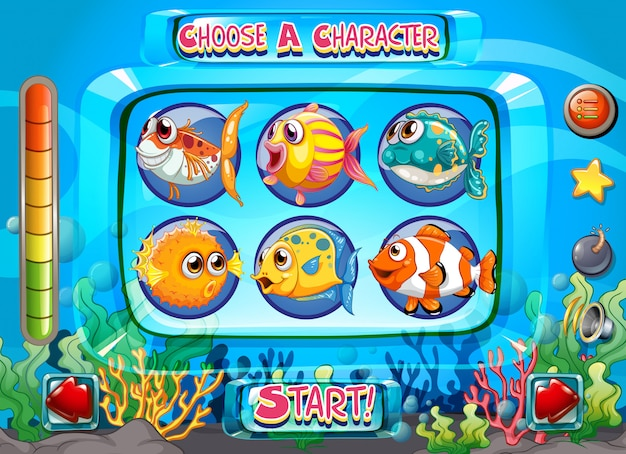 Computer game template with fish as characters Free Vector
