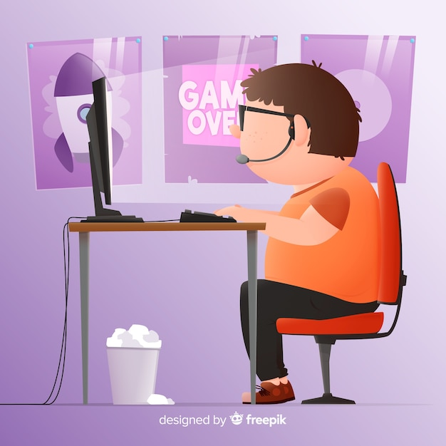 Computer gamer background flat design Free Vector