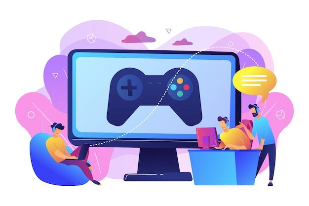 Industria dei giochi per computer, formazione cybersport. coaching di esport, lezioni con giocatori professionisti, piattaforma di coaching di esport, gioca come un concetto professionista. Vettore gratuito