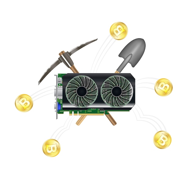 Computer graphic vga card mining bitcoin Premium Vector