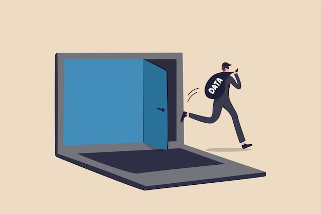 Computer hacker, cyber security, online ransomware or malware to steal personal data from computer, criminal man thief holding bag with the word data running away from secret door on laptop computer. Premium Vector