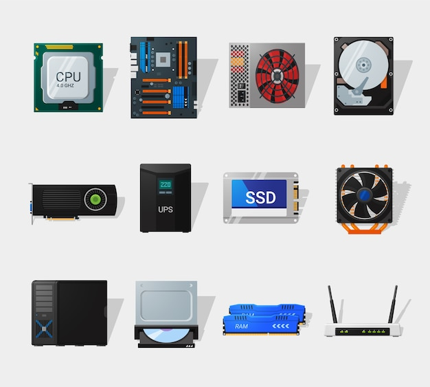 Computer hardware in flat style. detailed flat style. different computer parts. cpu, motherboard, hdd, ssd and video card. Premium Vector