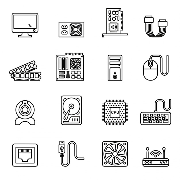Computer hardware icons. pc components icons. Premium Vector