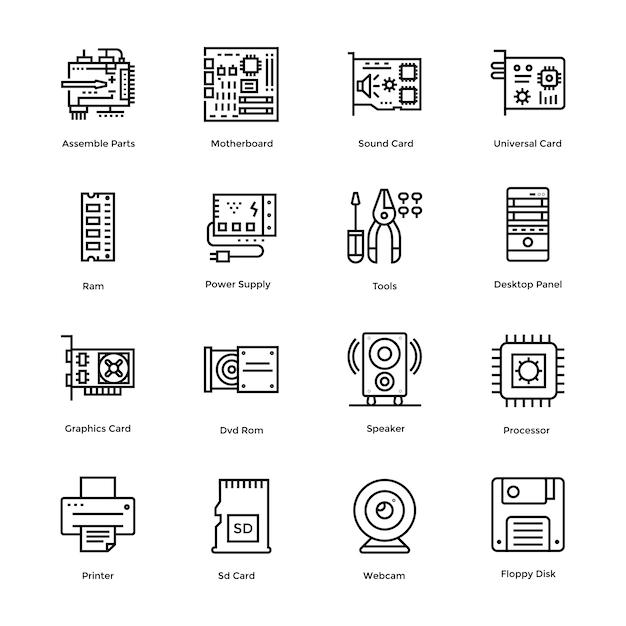 Computer hardware vector icons bundle Premium Vector