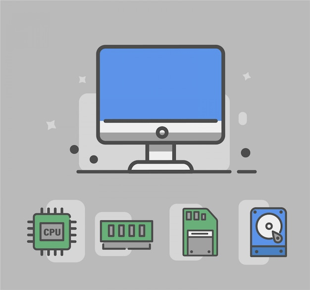 Computer icon with hardware icon. hardware icon namely cpu, memory slot, memory, hdd Premium Vector