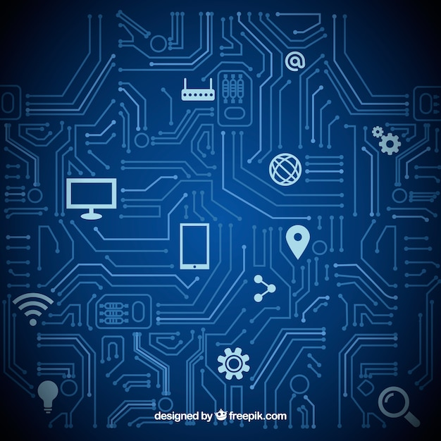 Computer icons technology background vector set Free Vector
