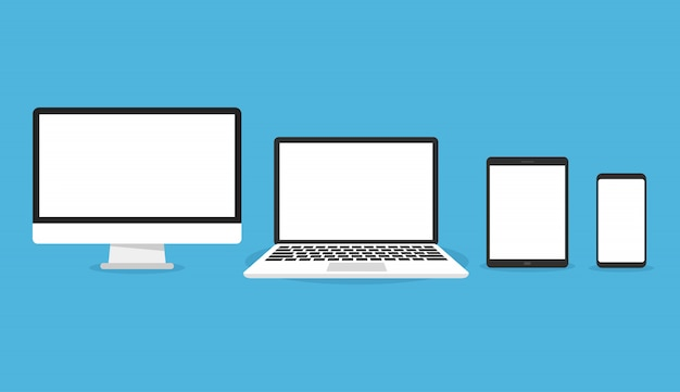 Computer, laptop, tablet and smartphone set icon Premium Vector
