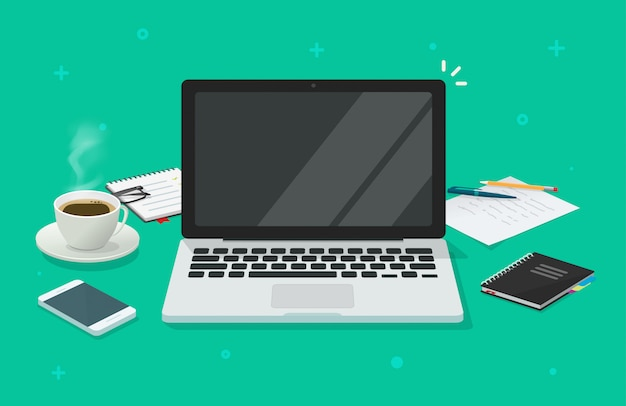 Computer laptop with blank empty screen for copy space text on workin desk table or workplace illustration flat cartoon Premium Vector