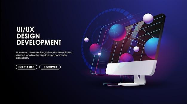 컴퓨터 모니터 3d 그림입니다. Ui 및 Ux 개발, 소프트웨어 엔지니어링 개념. 웹 및 인쇄용 크리에이티브 템플릿. 프리미엄 벡터