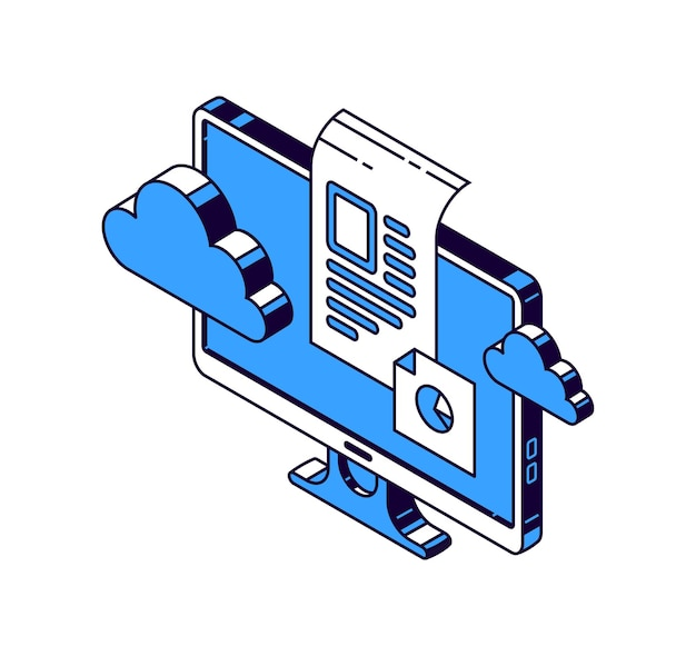 Computer monitor, virtual cloud and documents with information, isometric vector icons Free Vector