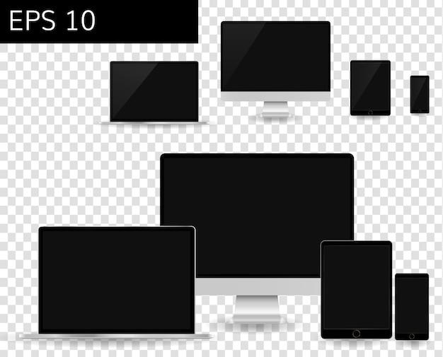 Computer monitors and mobile phones set responsive design mockup Premium Vector