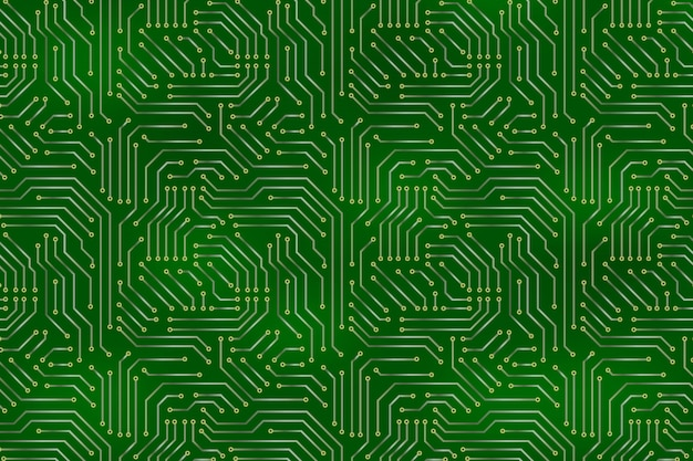 Computer motherboard background with circuit board electronic elements. Premium Vector