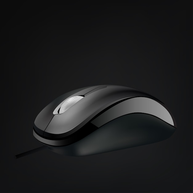 Computer mouse with wheel isolated Premium Vector