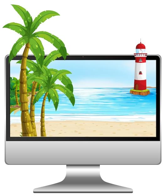 画面上のビーチとテーブルの上のコンピューター 無料ベクター