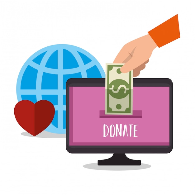 Computer for online charity donation Free Vector