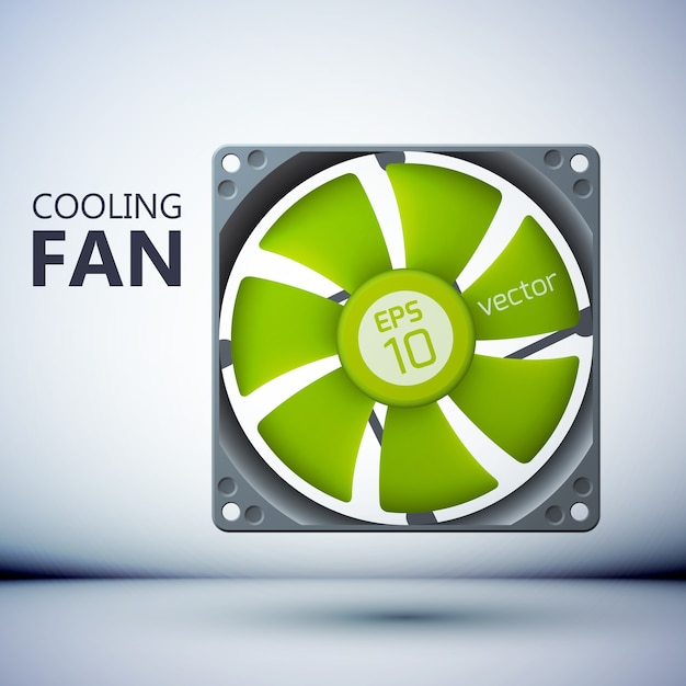 Computer plastic cooler with green blades in realistic style Free Vector