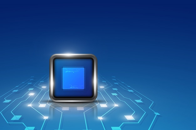 Computer processing innovation tech concept background Premium Vector