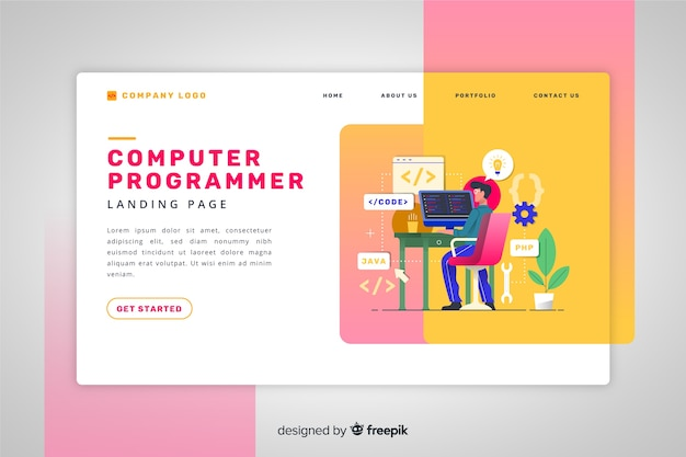 Computer programmer landing page Free Vector