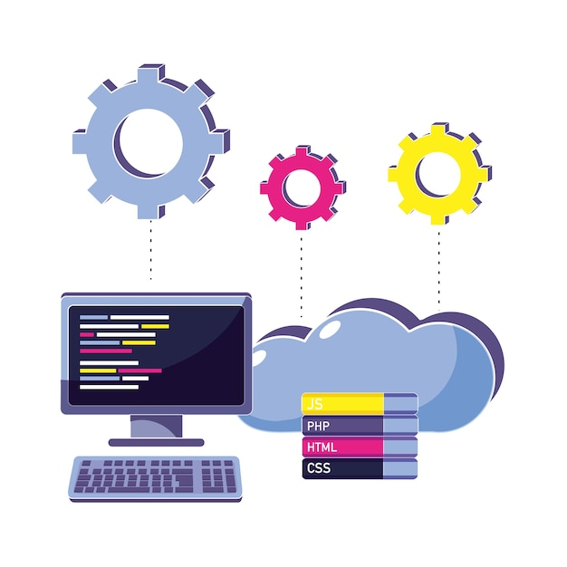 Computer programming code and cloud data with gears Premium Vector