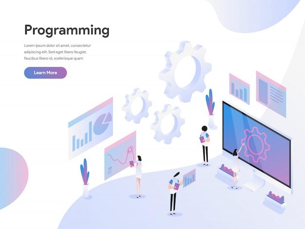Computer programming isometric illustration concept Premium Vector