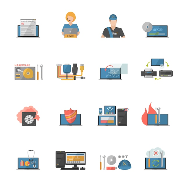 Computer repair icons set Free Vector