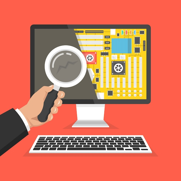 Computer repair, service. hand holding a magnifying glass Premium Vector