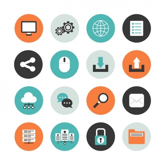 Computer round icon set Free Vector