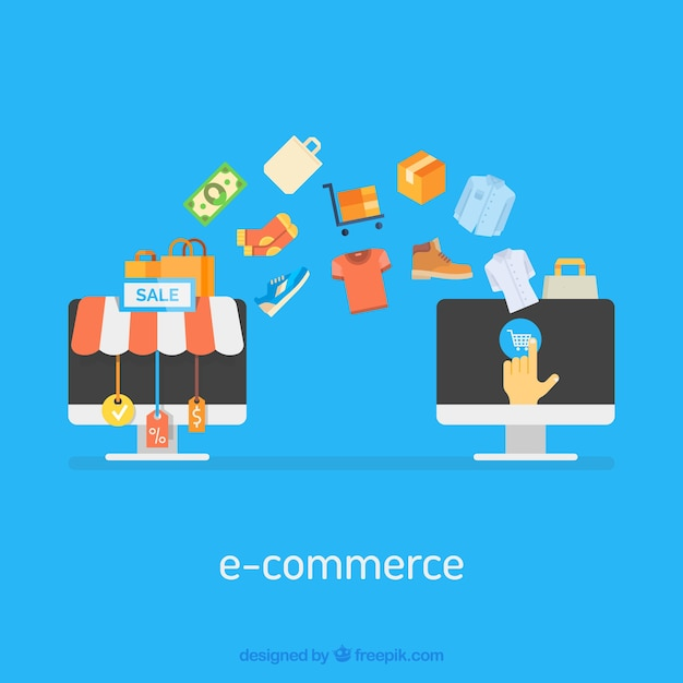 Computer's screens and purchases Free Vector