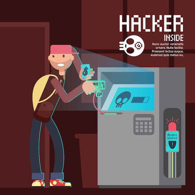 Computer safety and computer crime vector concept with cartoon hacker character Premium Vector