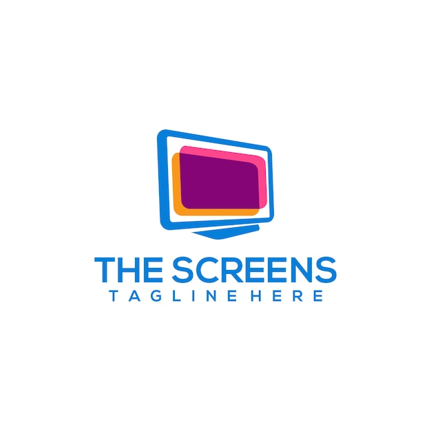 Computer screen logo Premium Vector