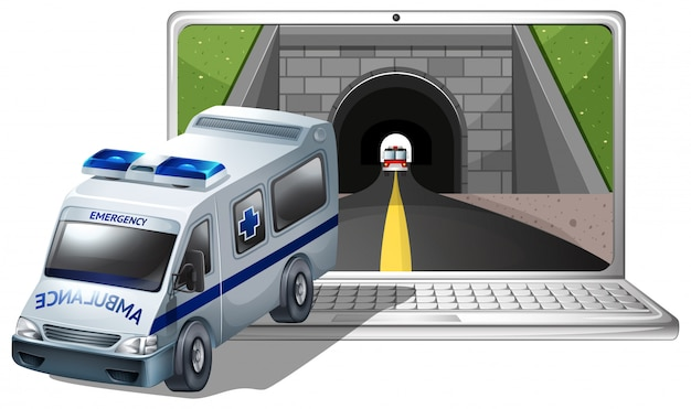 Computer screen with ambulance and tunnel Free Vector