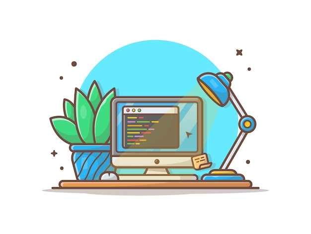Computer screen with code, plant and lamp illustration Premium Vector