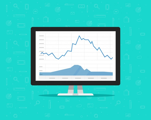 Computer screen with market stocks graphs  illustration flat cartoon Premium Vector