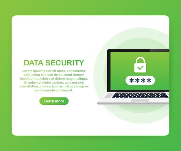 Концепция компьютерной безопасности. ноутбук с щитом и блокировки на столе. плоский Premium векторы