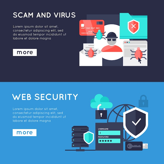 Computer security horizontal banners Free Vector