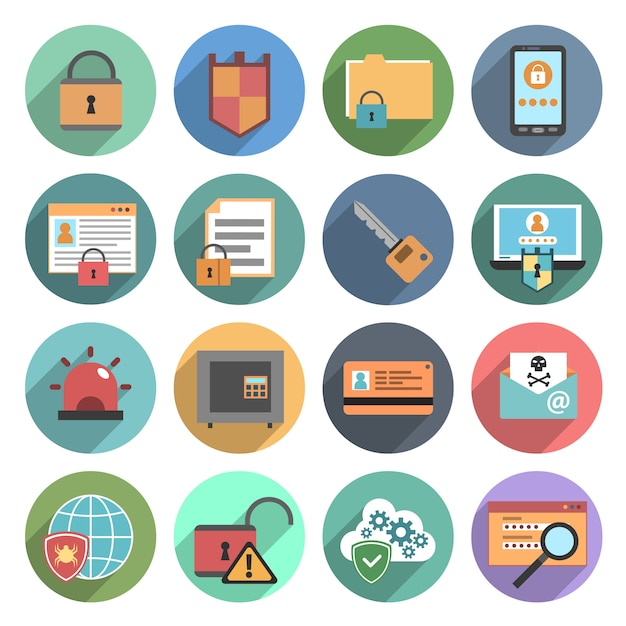 Computer security icons set flat round Free Vector