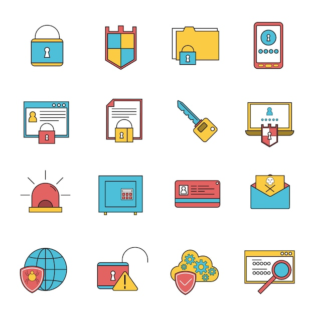 Computer security icons set line Free Vector