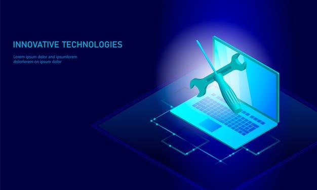 Computer service repair isometric laptop, 3d blue flat technical support screwdriver Premium Vector