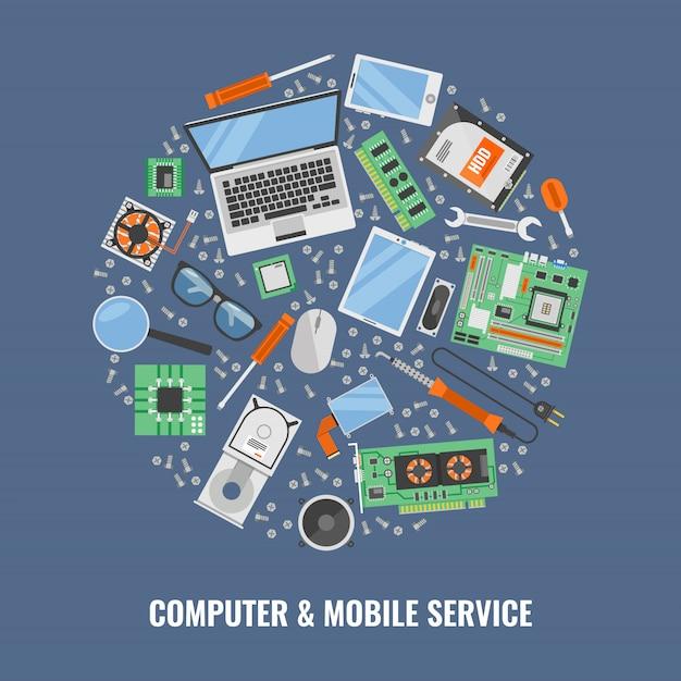 Composizione rotonda in servizio informatico con l'insieme colorato dell'icona composto nella grande illustrazione rotonda di vettore Vettore gratuito