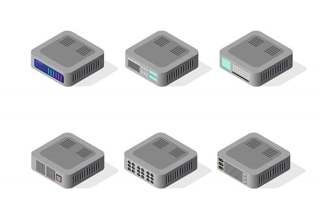Computer set of cloud storage Premium Vector