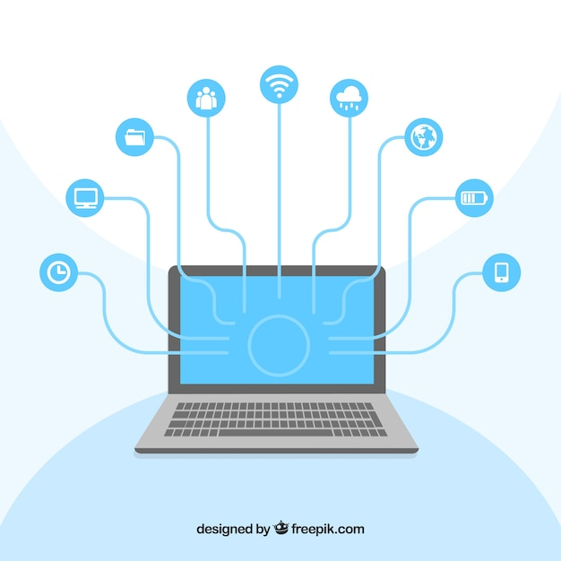 Computer Social Networking Vector Free Download