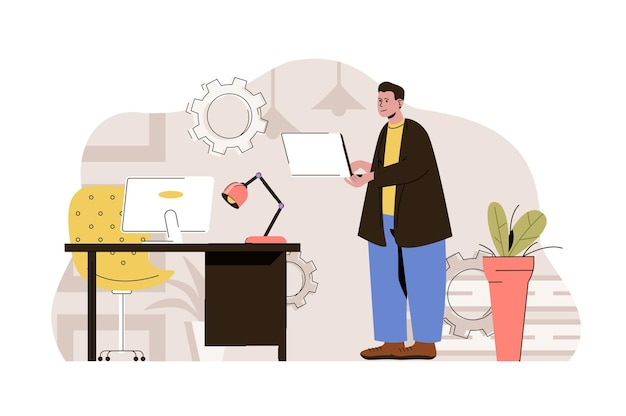 Computer technologies web concept illustration with flat people character