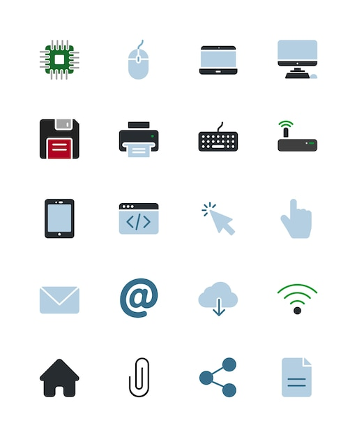 Computer and technology icons Premium Vector