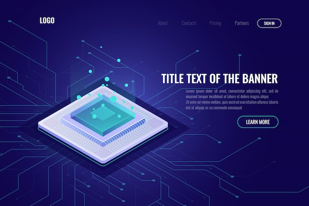 Computer technology isometric abstract banner, cpu server, big data processing, machine learning Free Vector