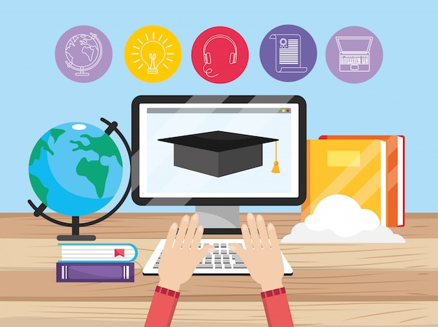 Computer technology with education books and hands Premium Vector