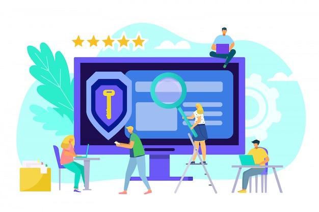 コンピューターのwebデータ保護の概念、イラスト。画面上のテクノロジーで保護された情報、ビジネスプライバシーネットワーク。ビジネスの安全性、インターネットのサイバー保護と人々。 Premiumベクター