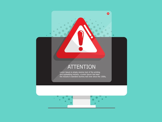Computer with attention, warning sign Premium Vector