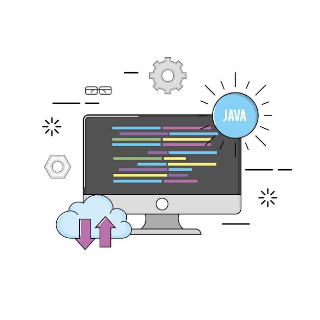 Computer with code programing software data Premium Vector