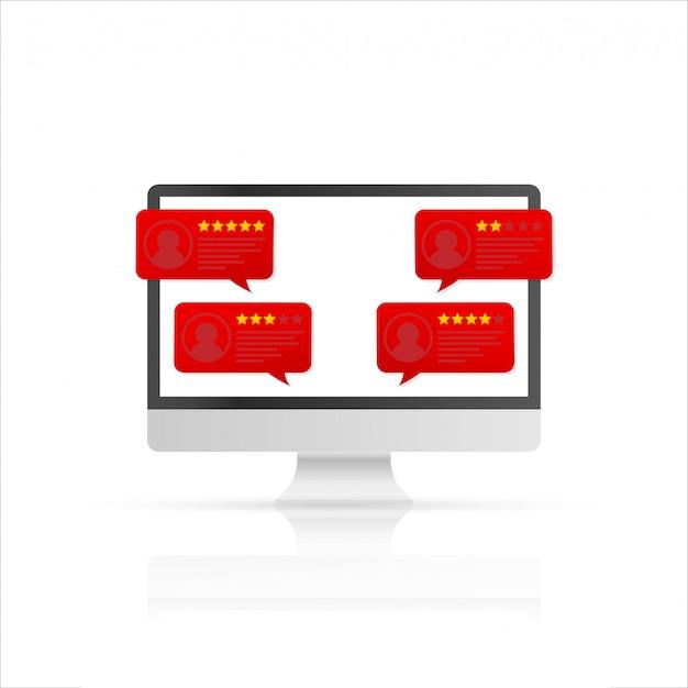 Компьютер с оценочными сообщениями клиентов. настольный пк дисплей и онлайн обзоры или отзывы клиентов Premium векторы