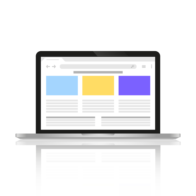 Computer with a depicted site on the internet on the screen. Premium Vector